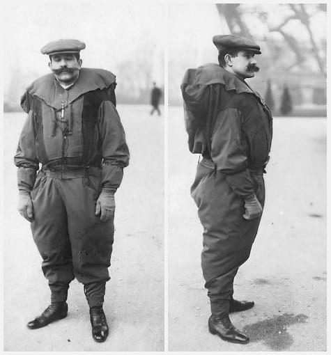 Franz Reichelt posing for a photo with his parachute.