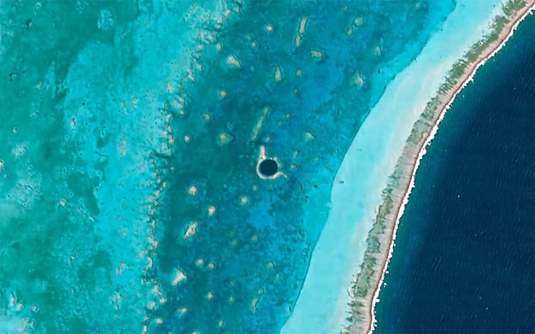 An Ariel photo of the Great Blue Hole from Hodoyoshi-1 satellite.