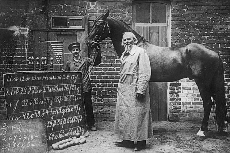 Clever Hans with his trainer Wilhelm von Osten.
