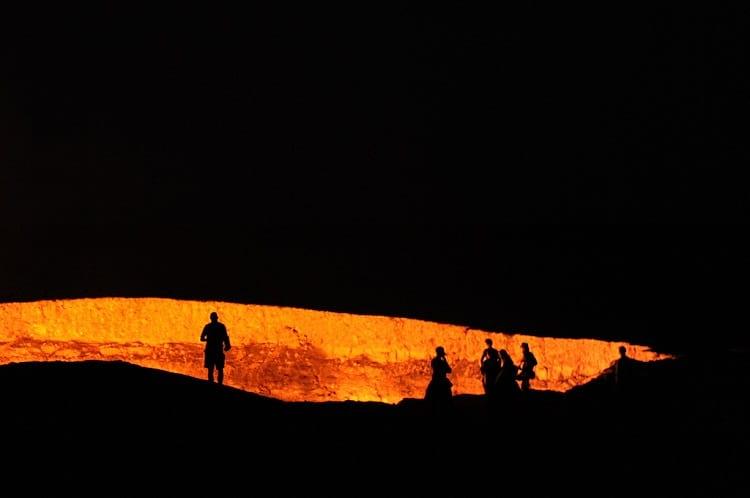 Darvaza Gas Crater at night.