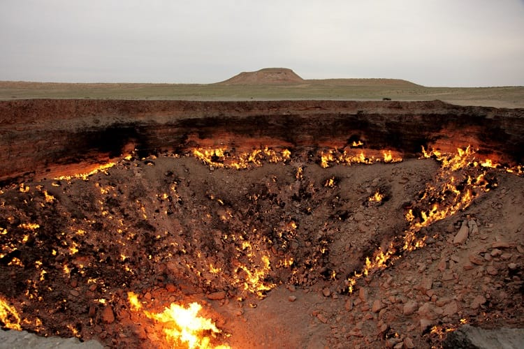 Darvaza gas crater during the day.