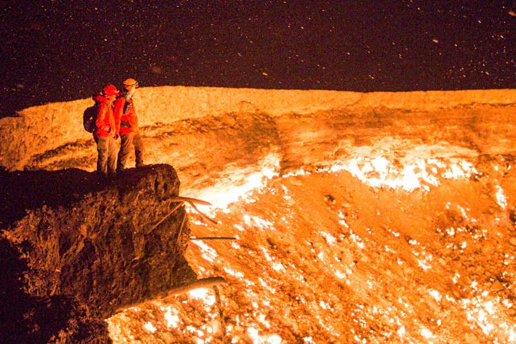 A couple enjoying the view of the crater.