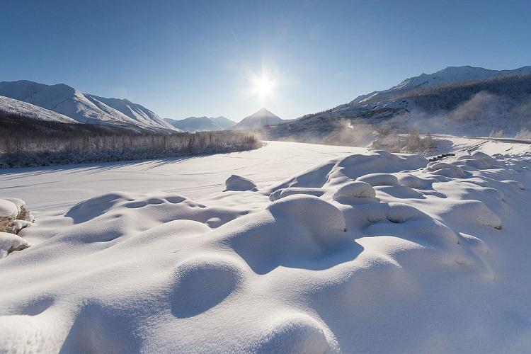Frozen river in Oymyakon.
